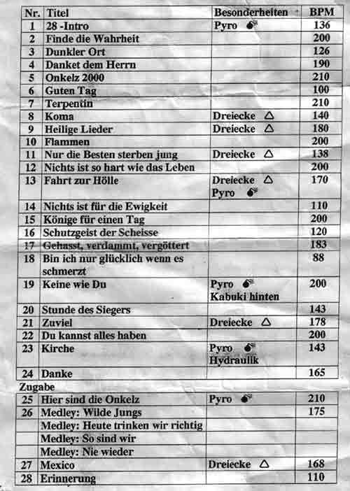 Onkelz Setlist